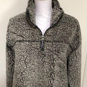 Fuzzy Fleece 1/4 Zip in Gray/Black Sz 2X - GUC